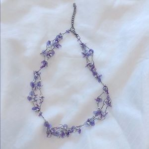 Cute purple and pearl bead choker